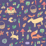 Картина осени безшовная с животными Иллюстрация вектора