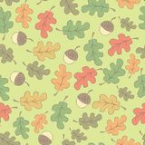 Картина осени безшовная с жолудями Стоковая Фотография