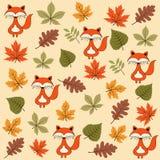 Картина осени безшовная с листьями и лисами иллюстрация вектора