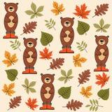 Картина осени безшовная с листьями и медведями бесплатная иллюстрация