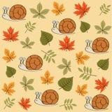 Картина осени безшовная с листьями и улитками бесплатная иллюстрация