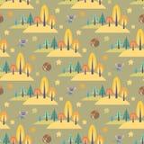 Картина осени безшовная с милыми животными леса Стоковое Изображение RF
