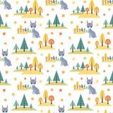 Картина осени безшовная с милыми животными леса Стоковые Фотографии RF