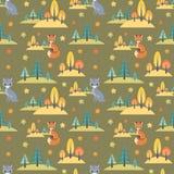 Картина осени безшовная с милыми животными леса Стоковые Изображения