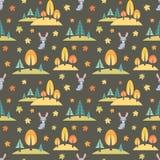 Картина осени безшовная с милыми животными леса Стоковое Фото