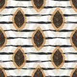 Картина осени безшовная с современными листьями на текстуре нашивок Печать ткани вектора, дизайн ткани иллюстрация штока