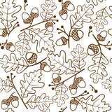Картина осени безшовная хворостин и жолудей дуба также вектор иллюстрации притяжки corel иллюстрация вектора