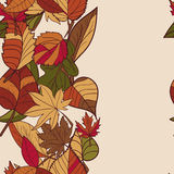 Картина осени картина листьев осени Красные, желтые и зеленые листья лесных деревьев граница безшовная Польза как предпосылка t Стоковое Фото