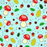Картина осени леса от грибов, листьев, жолудей, кругов, червей E Illustaration вектора иллюстрация штока