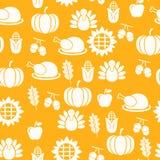 Картина осеннего благодарения оранжевая безшовная с иллюстрацией индюков иллюстрация штока