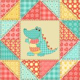 Картина лоскутного одеяла крокодила Стоковое Фото