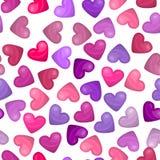 Картина лоснистого сердца безшовная на белой предпосылке Иллюстрация вектора для сладостного дизайна праздника Милое розовое, фио Стоковое фото RF