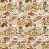 Картина очень вкусных закусок Тайваня безшовная Стоковое фото RF