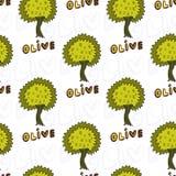 Картина оливковых дерев безшовная Предпосылка Doodle вектора Стоковые Фото