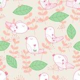 Картина пастельного цвета лист птицы безшовная иллюстрация штока