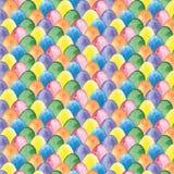 Картина пасхи акварели с пестроткаными яичками Стоковое Изображение RF