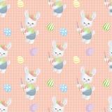 Картина пасхи безшовная с кроликами Стоковое Изображение