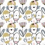 Картина пасхи безшовная с цветками, chiks и dragonflies Рукописная иллюстрация вектора Стоковое Фото