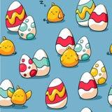 Картина пасхи безшовная с цыпленком и пасхальными яйцами Предпосылка праздника для упаковочной бумаги, ткани Doodle руки вычерчен бесплатная иллюстрация