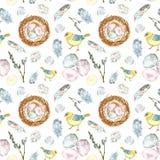 Картина пасхи весны акварели безшовная на белой предпосылке с птицами цыпленоков, яйцами, пер иллюстрация вектора