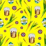 Картина пасхи счастья акварели безшовная яркая против иллюстрация штока