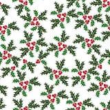 Картина падуба рождества безшовная проиллюстрированная Стоковое Изображение