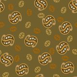 Картина Пейсли зерен кофе в теплых коричневых цветах Безшовная картина вектора для упаковки, рекламы, кофейни, ресторана иллюстрация штока