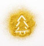 Картина песка Золотая рождественская елка яркого блеска стоковое изображение rf