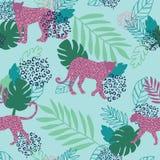 Картина печати леопарда вектора пурпурная и зеленая иллюстрация вектора