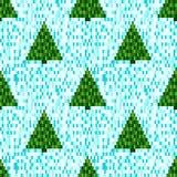 Картина пиксела безшовная с рождественскими елками Стоковое Изображение RF