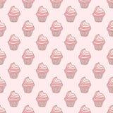 Картина пирожного безшовная на розовой предпосылке Иллюстрация штока