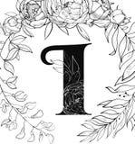 Картина письма i алфавита цветка бесплатная иллюстрация