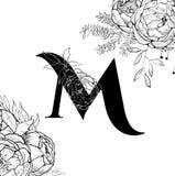 Картина письма m алфавита цветка иллюстрация вектора