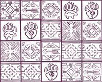 Картина плана духовная безшовная со стрелками, животными следами и геометрическими элементами в племенном стиле иллюстрация штока
