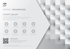 Картина плана шаблона белая и серая геометрическая квадратов стоковые изображения rf