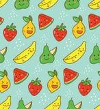 Картина плода Kawaii безшовная с лимоном, клубникой etc иллюстрация штока