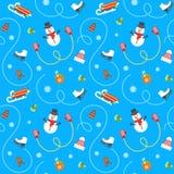 Картина плоского вектора зимних отдыхов безшовная Стоковые Фотографии RF