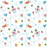 Картина плоского вектора зимних отдыхов безшовная Стоковое Изображение