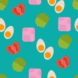 Безшовная картина еды Картина плоской еды безшовная Плоская еда бесплатная иллюстрация