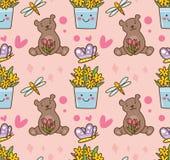 Картина плюшевого мишки и цветка безшовная бесплатная иллюстрация