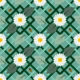 Картина повторения белых цветков безшовная с ladybug на геометрическом пастельном цвете Стоковые Фотографии RF