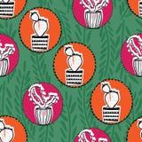 Картина повторения дизайна кактуса круга безшовная красочная бесплатная иллюстрация