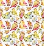 Картина повторения красочных смешных птиц акварели безшовная иллюстрация штока