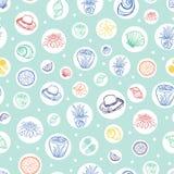 Картина повторения пляжного комплекса вектора пастельная зеленая тропическая с кругами Соответствующий для обруча, ткани и обоев  бесплатная иллюстрация