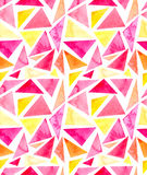 Картина повторения простых ярких треугольников акварели безшовная иллюстрация вектора