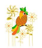 Картина попугая и цветка, печать футболки иллюстрация вектора