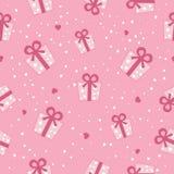 Картина подарочных коробок вектора безшовная розовая. Стоковое Изображение RF