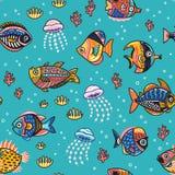 Картина подводной жизни безшовная с рыбами также вектор иллюстрации притяжки corel Стоковые Изображения RF