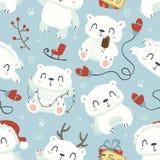 Картина полярного медведя стиля шаржа милая безшовная Стоковое Изображение