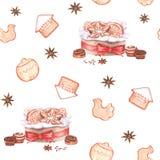 Картина праздника нарисованной вручную акварели безшовная бесплатная иллюстрация